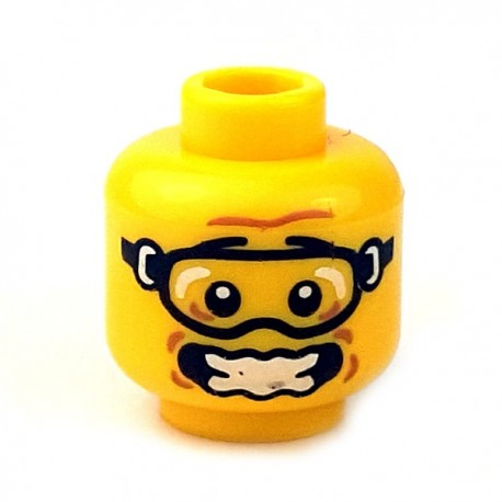 Lego - Yellow Minifig, Head Glasses with Skydiver Goggles, Open Mouth & Scared