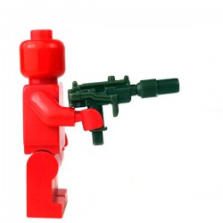 Lego Accessoires Minifigure - Si-Dan Toys - Mini-UZI + Silencieux (Vert Militaire)