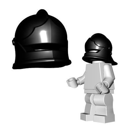 Lego Accessoires Minifigure BrickWarriors - Casque Sallet (Noir)