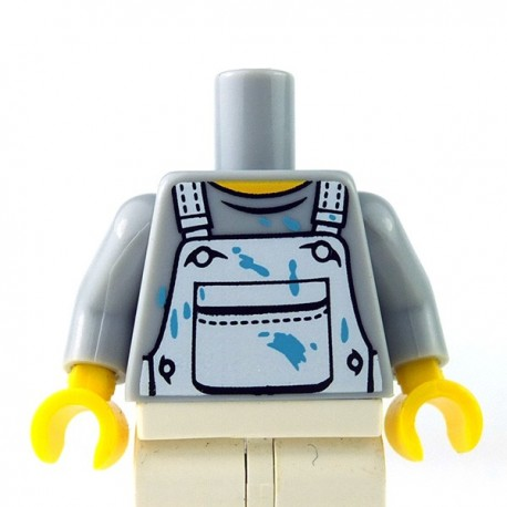 Lego Minifigure - Torse - Salopette taches de peinture (Light Bluish Gray)