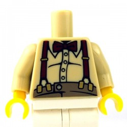 Lego - Tan Torso Button Shirt over Pot Belly, Bow Tie & Suspenders