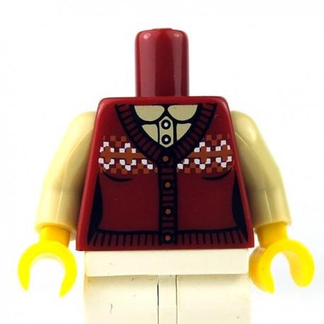 Lego Minifigure - Torse - Gilet, Chemise jacquard (Rouge foncé)