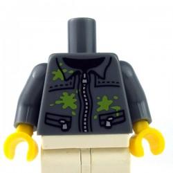 Lego Minifigure - Torse - Veste taches de peinture (Dark Bluish Gray)