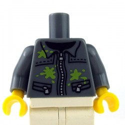 Lego - Dark Bluish Gray Torso Silver Zipper and Lime Paint Splotches