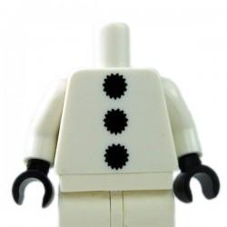 Lego - White Torso 3 Black Pom Poms