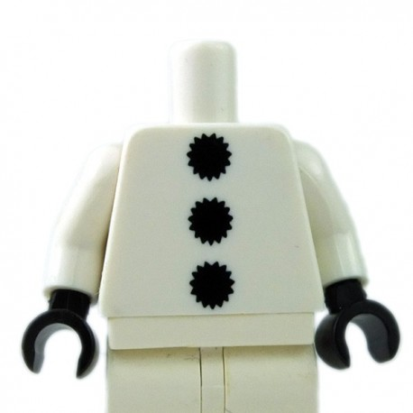 Lego Minifigure - Torse - 3 pompons noirs (Blanc)