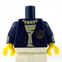 Lego Minifigure - Torse - Veste avec boutons dorés & une ancre sur le pull (Bleu foncé)