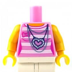 Lego Minifigure - Torse - T-shirt rayé avec pendentif (Bright Pink)