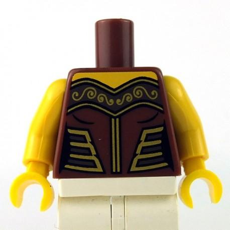 Lego Minifigure - Torse - Armure féminine avec décorations dorées (Reddish Brown)