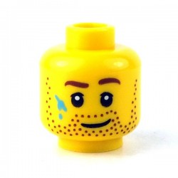 Lego - Yellow Minifig, Head Beard Stubble, Brown Eyebrows & Paint Stains