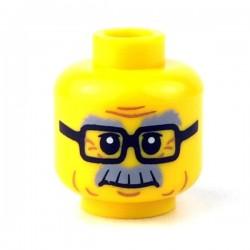 Lego - Yellow Minifig, Head Glasses, Gray Eyebrows & Moustache