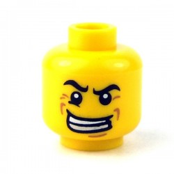 Lego - Yellow Minifig, Head Male Black Angry Eyebrows, Evil Grin with Teeth, Wrinkles