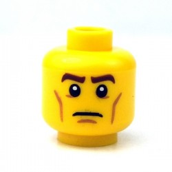 Lego - Yellow Minifig, Head Brown Eyebrows, White Pupils, Cheek Lines, Frown