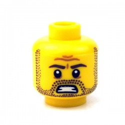 Lego - Yellow Minifig, Head Beard Stubble, Brown Eyebrows & Mouth with Teeth