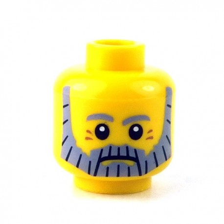 Lego - Yellow Minifig, Head Beard Gray and Black, Gray Eyebrows & Red Eye Dimples