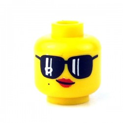 LEGO - Yellow Minifig, Head Female with Black Sunglasses, Red Lips & Smirk