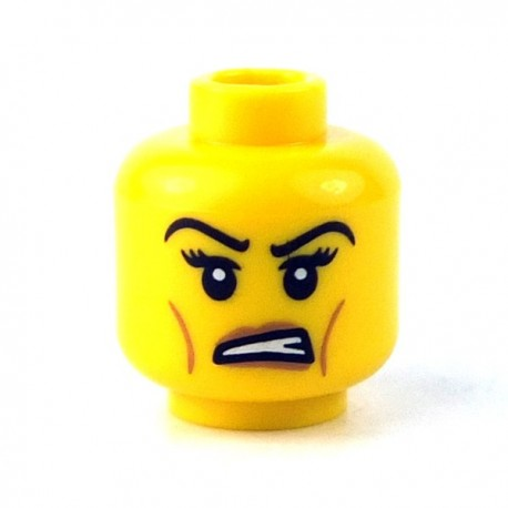 LEGO - Yellow Minifig, Head Female with Black Eyelashes, Angry Eyebrows
