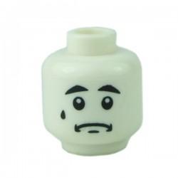 Lego Minifigure - Tête Triste Blanche