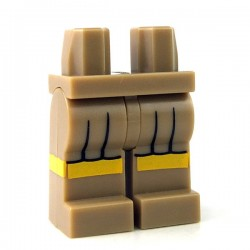 Lego - Dark Tan Hips & Legs with Black Skirt Pleats & Yellow Hem Stripe