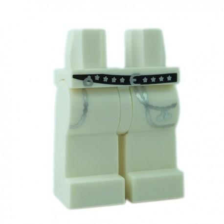 Lego Minifigure - Jambes avec ceinture noire étoilées & chaînes (Blanc)