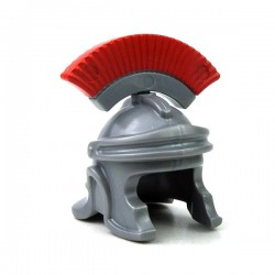 LEGO - Flat Silver Minifig, Headgear Helmet Roman Soldier with Red Plumes