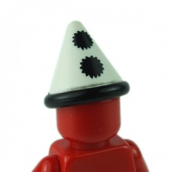 LEGO - White Minifig, Headgear Hat, Cone with Black Band & Pom Poms