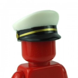LEGO - White Minifig, Headgear Cap, Captain with Black Visor & Gold Braid