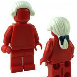 Lego Minifigure - Cheveux Long attachés en arrière avec ruban (Blanc)