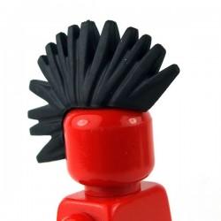 Lego Minifigure - Cheveux crête punk iroquoise (Noir)