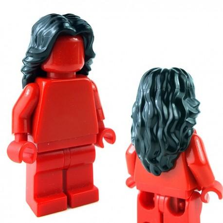 Lego Minifigure - Cheveux mi-long ondulé avec raie au milieu (Noir)
