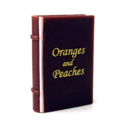 Lego - Reddish Brown Minifig, Utensil Book 2x3 with Gold 'Oranges and Peaches'