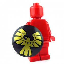 Lego - Dark Brown Minifig, Shield Round with Rounded Front with Gold Eagle