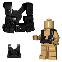 Lego Accessoires Minifigure BrickWarriors - German Gunner Suspenders (Noir)