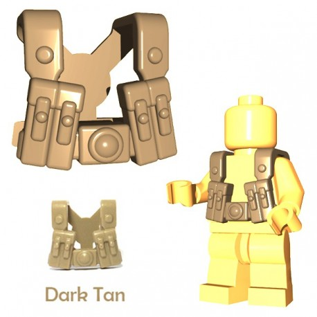 Lego Accessoires Minifigure BrickWarriors - German Gunner Suspenders (Beige foncé)