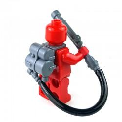 Lego Accessoires Minifigure BrickWarriors - Lance flammes Flammenwerfer 35 (Gris)