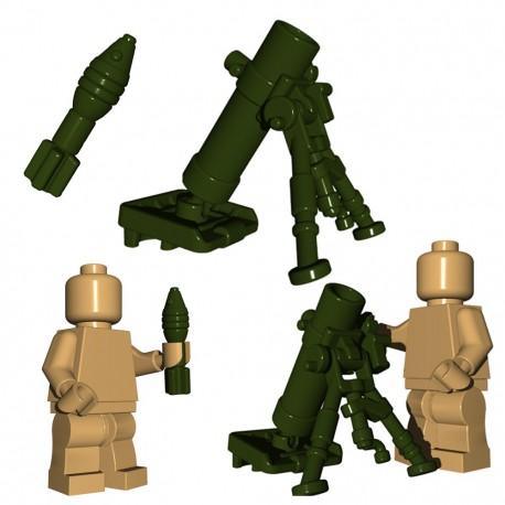 Lego Accessoires Minifigure BrickWarriors - Mortier + Obus (Vert Militaire)