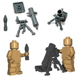 Lego Accessoires Minifigure BrickWarriors - Mortier + Obus (Gris)
