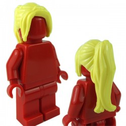 LEGO - Bright Light Yellow Minifig, Headgear Hair Female Ponytail Long with Side Bangs