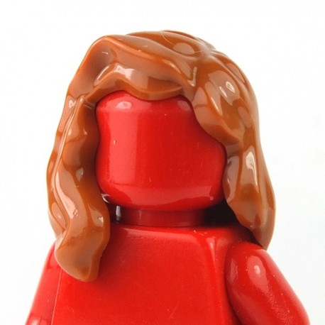 Lego minifigure - Cheveux mi-long qui retombe sur l'épaule droite (Dark Orange)
