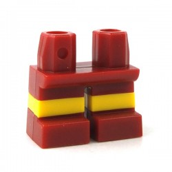 Lego - Dark Red Legs Short with Horizontal Yellow Stripes