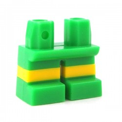Lego - Bright Green Legs Short with Horizontal Yellow Stripes