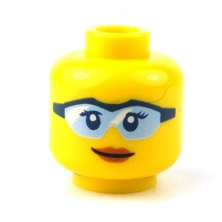 LEGO - Yellow Minifig, Head Female Glasses Light Blue with Black Frame, Peach Lips