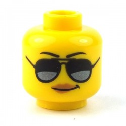 LEGO - Yellow Minifig, Head Female with Black and Silver Sunglasses, Black Eyebrows, Peach Lips