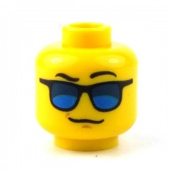 Lego - Yellow Minifig, Head Blue Sunglasses, Black Eyebrows, Left Eyebrow Raised