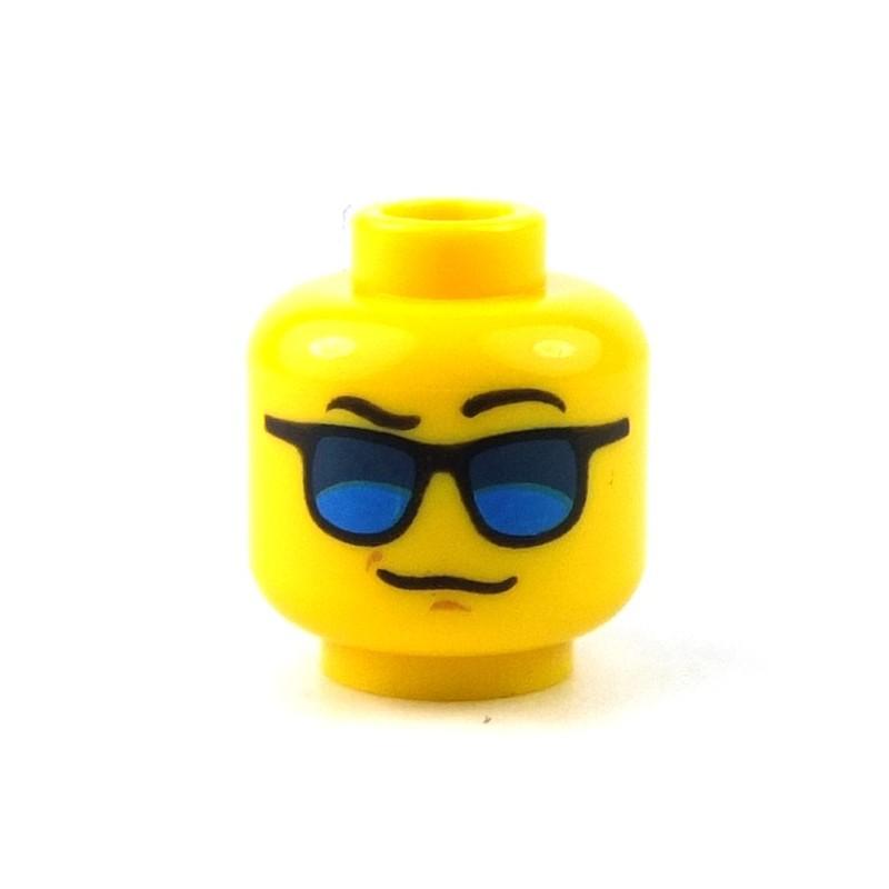 NEW Lego MINIFIG HEAD w//Glasses Goggles Black Beard Stubble Miner//Police//Agent