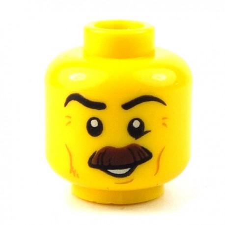 Lego - YYellow Minifig, Head Moustache Brown Bushy, Black Eyebrows, Cheek Lines, Smile