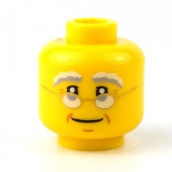 Lego - Yellow Minifig, Head Glasses with Gold Frame, White & Gray Eyebrows