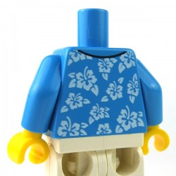LEGO - Dark Azure Torso Hawaiian Shirt Open with White Flowers over White Undershirt