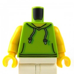 LEGO - Lime Torso Hoodie with White Drawstrings, Silver Adjusters and Kangaroo Pockets