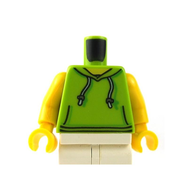 LEGO 6  Flesh Minifigure Torso Body Dark Red Top Grey Hoody Hoodie Sweater